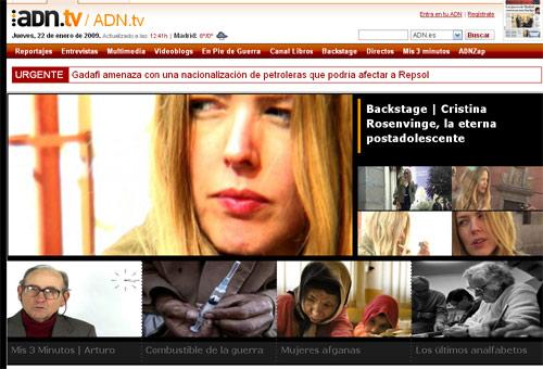 Captura de pantalla de la nueva ADN.TV, estrenada hoy