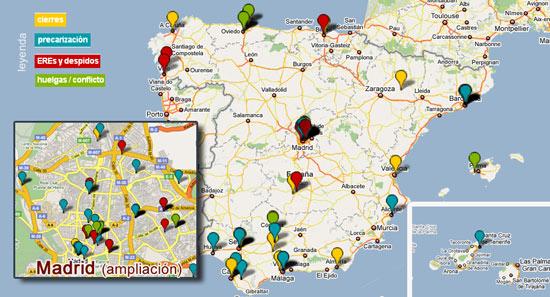 Mapa interactivo de Meipi donde se muestran todos los despidos, EREs, conflictos y huelgas en los medios españoles. He ampliado la ciudad de Madrid para que se vea en detalle el mayor número.
