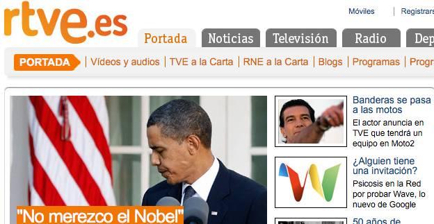 Captura de pantalla de la web de RTVE a las 20.50 de hoy viernes