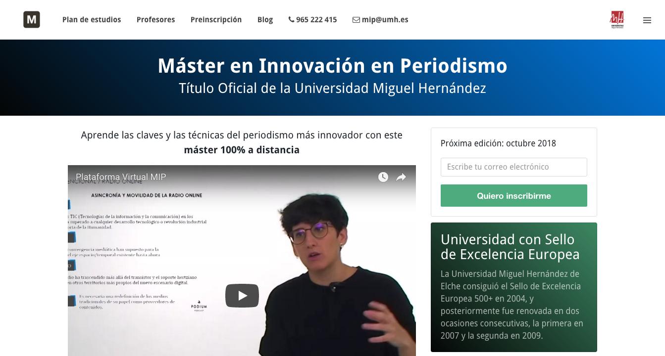 Máster en Innovación en Periodismo — Título Oficial de la Universidad Miguel Hernández